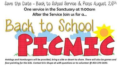 Back to School Worship and Picnic  August 26